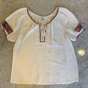 J. Crew Embroidered Tribal Print Top